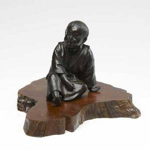 Japanese bronze figure young boy in sitting position on wooden base ca 1900 losses height of bronze 5 12
