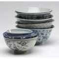 Chinese ceramics eight bowls with underglaze blue decoration 20th c largest 6 dia