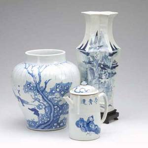 Chinese porcelain three pieces all with underglaze blue decoration including a tea pot with cover hexagonal vase with wooden stand and a jar with incomplete decoration of children playing 19th c