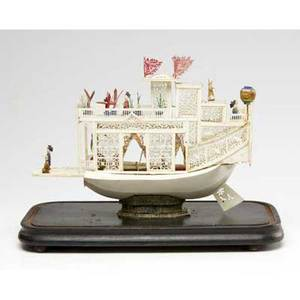 China trade ivory model of a junk under glass dome 19th c 14 x 15 x 8