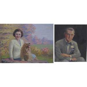 American school mid20th century two works of art untitled woman with a spaniel oil on canvas framed signed macloud 28 x 36 untitled portrait oil on canvas framed signed schorbrunn