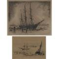 Nautical etchings two works of art george taylor plowman american 18691932 untitled etching framed signed francis seymour haden british 18181910 untitled 1870 etching framed signed