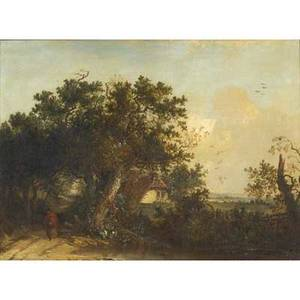 19th c landscape untitled oil on board framed provenance private collection new jersey 11 12 x 16