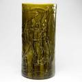 American majolica umbrella stand embossed with fisherman and maiden in boats a few small nicks unmarked 21
