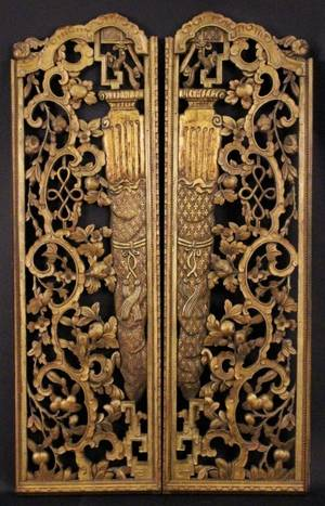 Pair of Carved Gilt Wood Chinese Panels