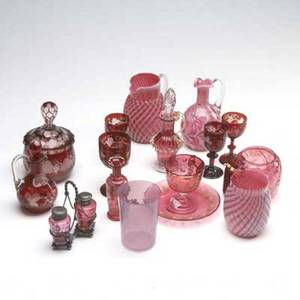 Cranberry and ruby glass sixteen pieces including six pieces of ruby flash and ten pieces of assorted cranberry and cranberry glass