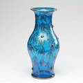 Art glass vase in cobalt glass overlaid with silver olive branches etched af 14 12 x 7 dia