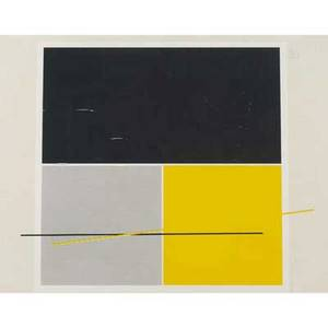 Artwork limited edition etching with yellow black and white geometric design matted and framed signed lower right edition 36200 28 x 23