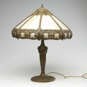 Slag glass lamp with white metal base and filigreed faceted shade fitted with caramel slag glass panels 24 x 17 12