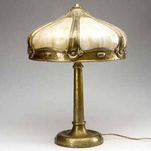 Arts and crafts lighting table lamp with curved caramel slag glass panels unmarked 21 x 16