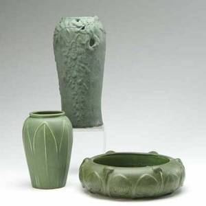 Hampshire etc three pieces in matte green glaze hampshire bowl and vase and a tall vase with reticulated leaf design two marked tallest 11 12