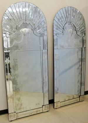 Pair of Venetian Mirrors with Rams Head Motif