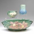 Roseville etc three pieces roseville green clematis bowl 610 chip and nick to rim roseville green peony planter 6613 and a van briggle turquoise vase all marked van briggle 4 12