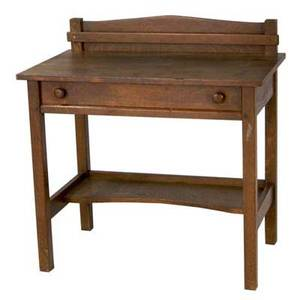 L jg stickley postcard desk with single drawer and letter rack handcraft label 35 x 34 x 20