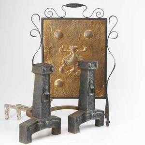 Arts  crafts fireplace pair of heavy wrought iron andirons together with a hammered copper fireplace screen in wrought iron screen 30 x 20 12
