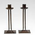 Roycroft pair of hammered copper princess candlesticks orb  cross marks 8 each