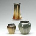 Fulper three vases two covered in cats eye flambe glaze all marked one rafco tallest 7 34