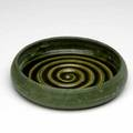 Grueby low bowl covered in a frothy matte green glaze 1 line from rim circular pottery stamp 1 34 x 8 dia