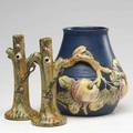 Weller three pieces two woodcraft bud vases and a blue baldin vase glaze flake to rim firing lines to baldin one marked tallest 9 14
