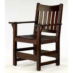 Gustav stickley mahogany vback armchair with tacked on japan leather seat overcoated finish red decal 36 x 26 x 21