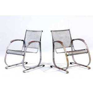 Garden pair of steel lounge chairs with perforated seats and gliding action 32 12 x 29 x 24