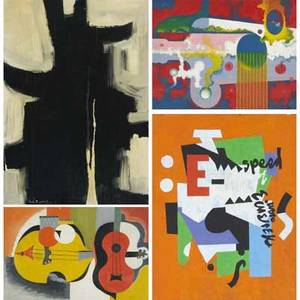Pop art and modern paintings six works of art one vinyl wall hanging four paintings and one 1960s wood and cardboard eyeglass advertising screen one signed illegibly smallest 16 x 20 largest