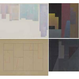 Richard cramer american b 1932 five works of art palisade collage 14 1979 acrylic on paper framed signed dated and titled palisade drawing study for collage 1 colored pencil on paper
