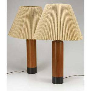 Danish pair of turned wooden table lamps with pleated raffia shades stamped made in denmark base 15 12 x 3 34