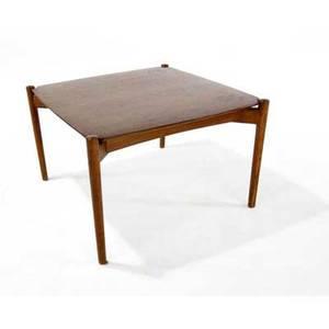 Finn juhl  wilkhahn teak and oak side table wilkhahn metal tag 17 12 x 26 12