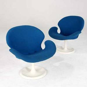 Modern pair of chairs in the style of arne jacobsens swan chair upholstered in royal blue fabric 30 x 29 x 29