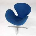 Arne jacobsen  fritz hansen swan chair upholstered in royal blue fabric 32 x 30 x 29