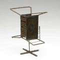 Style of harry bertoia welded steel sculpture with pewter enameled surface 8 12 x 8 x 4 12