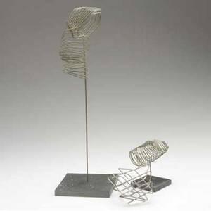 Style of harry bertoia three steel wire spring sculptures two on slate stands largest 18 12 x 5 12