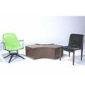 Knoll etc iron lounge chair with green vinyl cushions birds eye maple veneer coffee table and knoll bentwood side chair coffee table 15 x 51 x 25 12