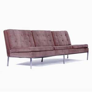 Florence knoll  knoll threeseat sofa reupholstered in umber velvet on polished steel base 31 x 90 12 x 27 12