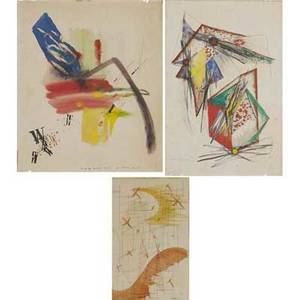 Abstract watercolors three works of art charles niedringhaus untitled 1942 watercolor on paper framed signed and dated untitled watercolor and ink on paper signed illegibly and inscribed