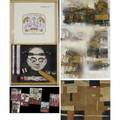 Assemblage and construction art eight works of art five on canvas one hanging wood construction triptych one sculpture and one relief in cigar box smallest 14 12 x 8 12 largest 67 x 38
