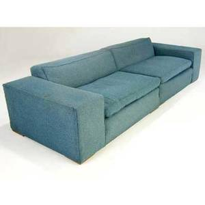 Paul frankl twopiece sofa upholstered in blue tweed overall measure 26 x 115 x 41