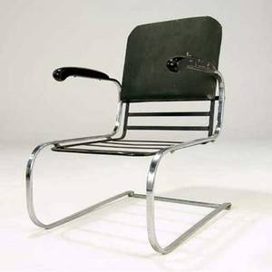 Gilbert rohde armchair with ebonized wood armrests on cantilevered base 35 x 22 12 x 29 14