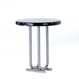 Art deco side table with black lacquer top on chrome base 20 12 x 17 34
