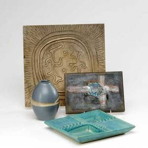Modern four pieces an ovoid vase an ashtray a plaque with stylized design and a painted wooden and copper plaque with abstract cross design large plaque 12 sq