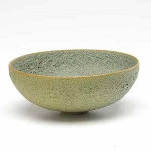 Natzler porcelain bowl covered in mossy green volcanic glaze signed natzler 2 14 x 5 34