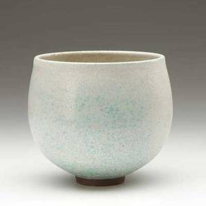 Scheier handthrown earthenware bowl covered in eggshell and robins egg blue volcanic glazes incised sheier 4 34 x 4 12