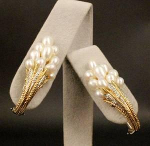 Pair of 18k Gold Pearl  Diamond Earrings