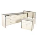 Modern fourpiece bedroom furniture suite in white laminate and polished chrome consisting of a dresser nightstand and two twin headboard dresser 30 x 75 x 19 headboards 36 x 38 12
