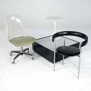 Modern four items tulip side table side table with illuminated white lucite top chrome side chair with black leather cushions and lucite side chair on casters lucite chair 37 x 20 x 20 illum