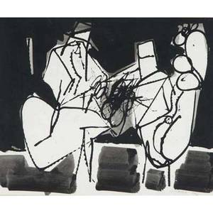 Carmen louis cicero american b 1926 untitled 1961 ink on paper framed signed and dated provenance private collection new jersey 10 x 12 14 sight