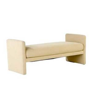 Milo baughman bench upholstered in finelyribbed tan fabric 21 x 52 x 22