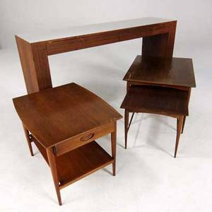Samson berman and heritage rosewood console with white laminate top along with walnut side tables 35 x 72 x 18