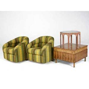 Modern furniture four items two lounge chairs upholstered in green and yellow fabric end table and octagonal occasional table topped with decorative metal under glass chairs 29 x 28 x 30 squar